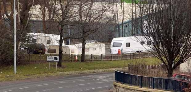 Travellers vehicles next to Huddersfield Ring Road at Cambridge Road.
